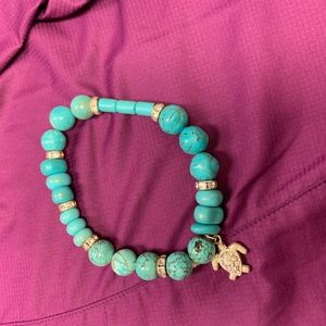 Turquoise Color Beaded Bracelet with Sea Turtle